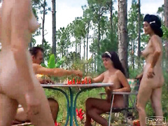Nudists play chess outdoors on a sunny day