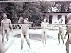 Retro video of volleyball game at a nudist camp