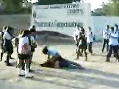 Schoolgirl catfight caught on a mobile phone camera