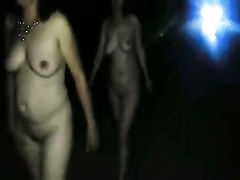 Nude British ladies walk down the street at night
