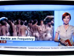 German news clip of nudists at a concert
