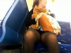 Girl in pantyhose flashes in voyeur upskirt scene