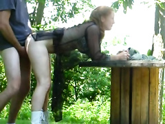 Amateur redhead sucks dick and gets screwed in the woods