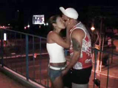 Latin girl fucked on pedestrian bridge over the highway