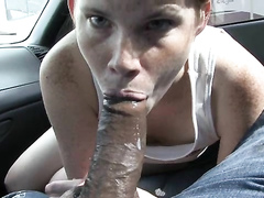 Another cocksucking hitchhiker gags on cumshot in her mouth