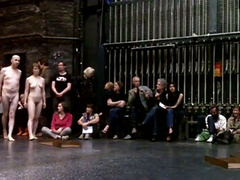 Mature couple flashes in nude art performance piece