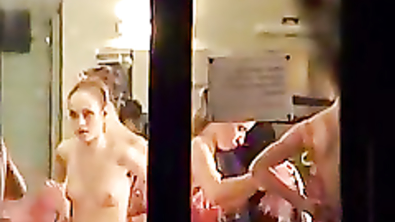 Theater changing room voyeur video clip
