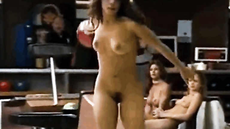 Nude beauties entertain at bowling alley