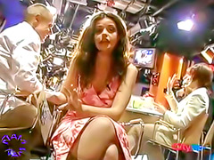 Intentional upskirt from sexy TV host