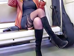 Stocking tops and upskirt on the train
