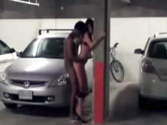 Public doggystyle sex in parking garage