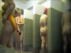 Voyeur shower video with lots of women