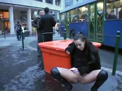 Public pissing princess in thigh high leather boots