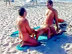 Public MMF threesome on a beach