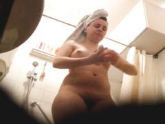 Chubby cutie secretly filmed in the bathroom