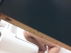 Our teacher enjoys peeing really hard on the college toilet
