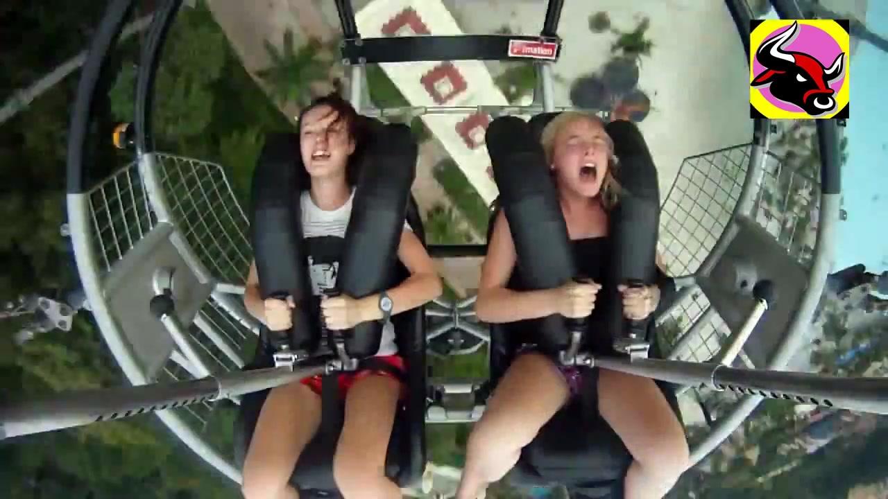 Teen pornstar riding roller coaster naked