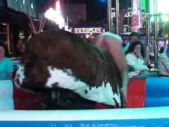 Craziest bull ride reveals the girl's private parts