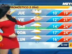 Curvaceous senorita tells us about the weather