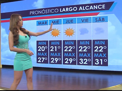 Famous Spanish bombshell delivers the weather report in a tight dress