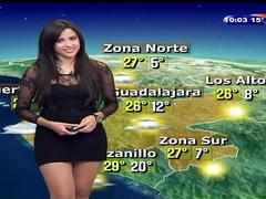 Raven-haired cutie wears a short dress on TV