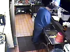 Nasty employee takes a pee into the sink