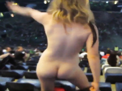 Smoking hot blonde walks around in crowd completely naked