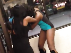 Black girl with a perfect ass beating her friend