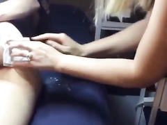 Delicious girl with a yummy booty has her asshole waxed