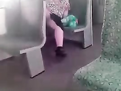 Chubby hooker flashes her genitals to me in the train