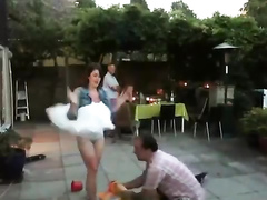 Skirt goes up and everyone sees her underwear!
