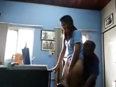 Suave secretary has doggystyle sex with the chubby boss