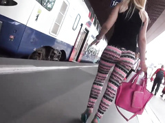 Delicious blonde with big ass walks around in tight leggings