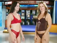Smoking hot TV hosts strip down while delivering news