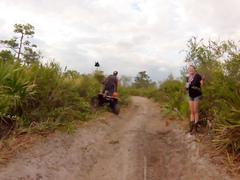 Ladies taking a pee on a quadbike adventure