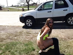 Playful girl films her friends relieving themselves