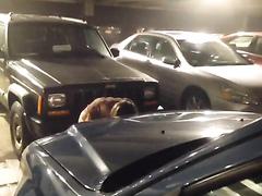 Desperate chick urinates at the underground parking lot
