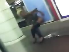 Drunkened hooker urinating in the metro