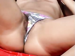 Horny maid reveals both of her sweet holes!