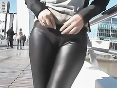 Flashing the pedestrians with a yummy camel toe