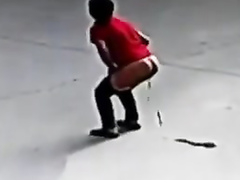 Brave Asian woman defecates on the street