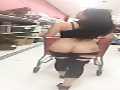 Ravishing hottie goes shopping with her big butt out