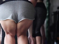 Two sporty bombshells with huge asses do yoga moves