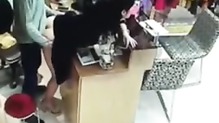 Asian saleswoman gets nailed behind a desk at the store