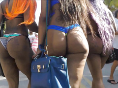 Ebony Brazilian babes with ghetto booties walk around in bikinis
