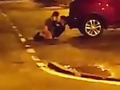 Sexually active amateurs enjoy copulating behind a car