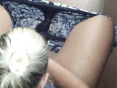 Woman with damp soiled panties