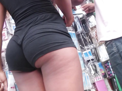 Ebony goddess wearing black shorts has an unbelievable piece of ass