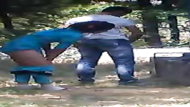 Young Asian couple has an intense quickie in the public park