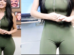 TV host wears a tight outfit in front of a camera